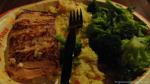 Salmon, Couscous, and Broccoli